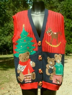 Ugly Christmas Sweater Vest Teddy Bears Christmas by kinseysue