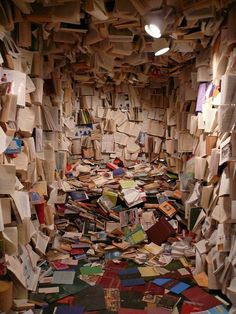 This shows an unorganised  room full of books ,the exact opposite of order and a reflection of disorder .