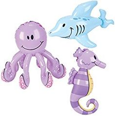 Under the sea party ideas using inflatable octopuses, sea horses and fish for decorations, photo ops and fun pool party games.