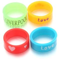 Mixed Style Multicolor Letter Printed Logo Rubber Silicone Rings One Size J Silicone Rings, Mix Style, Print Logo, Dog Bowls, Handmade Items, Lettering, Bracelet, Store, Printed