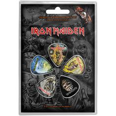 Iron Maiden Faces Of Eddie Guitar Pick Pack T-shirt Rock, Hard Rock, Custom Metal, Guitar Picks, Band Merch, Iron Maiden, Metal Bands, Heavy Metal, Badge