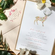 Great for a garden party or rustic style wedding. #envelopments @envelopments #deer #wedding #watercolor #stationery #woodland #floral #blush #pretty #bunnies #pink #invite #invitation #cork #coral #fluorescentwhite