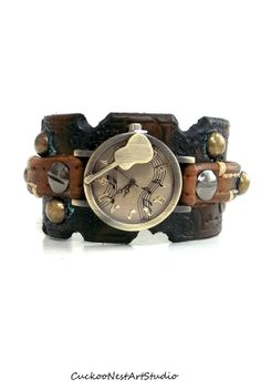 Distressed Watch, Womens Watch, Wrist Watch, Leather Watch, Bracelet Watch, Guitar Watch, Music Watch Cuff