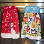 Craft a pretty kitchen towel for all seasons with this sew simple craft: a hanging potholder dishtowel.  Designed to button around an oven handle or towel bar, its a useful, festive gift.  Using co