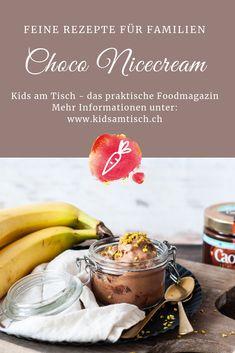 Die feine, cremige Choco-Nicecream von Kids am Tisch lässt die Glace-Herzen höher schlagen. Das leckere Eis lässt sich schnell und einfach mit nur zwei Zutaten herstellen; nämlich gefrorenen Bananen und der Caotina Crème Chocolat. Dieses Rezept macht alle Schleckmäuler happy! Probiere es aus!   Kids am Tisch – das praktische Foodmagazin für einen abwechslungsreichen Kochalltag. Dank der gratis App hast du immer Zugriff auf das Online-Magazin und die gelingsicheren Rezepte. www.kidsamtisch.ch Nutella, Deserts, Banana, Fruit, Recipes, Food, Display, Healthy Recipes, Frozen Banana