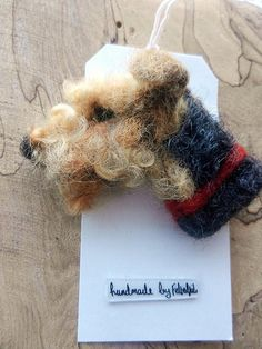 needle felted dog brooch