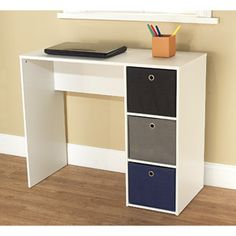 Student Writing Desk with 3 Fabric Bins, Blue/Black/Gray