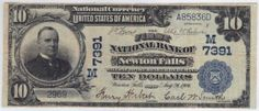 Newton Falls, OH - Ch. 7391 - $10 1902 Blue Seal Newton Falls, Ohio had a single national bank. It issued red seals and blue seals before closing in 1924. Before this discovery there were just two large notes reported as existing. Both of those are ragged blue seals listed as VG in the census. The note offered here, while it does have a minor margin split and a quarter inch internal tear, is still by far the nicest note for the town.