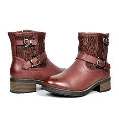DREAM PAIRS JUSTINA Women's Fashion Knit Shaft Buckles Faux Fur Lining Ankle Moto Riding Booties Boot Wine; $18.00  *Color - JUSTINA-WINE