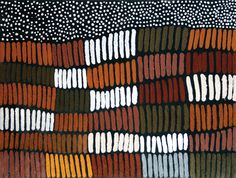 Lena Nyadbi | 'Jimbala Country and Starry Night' (2009). Natural ochre and pigments on canvas.