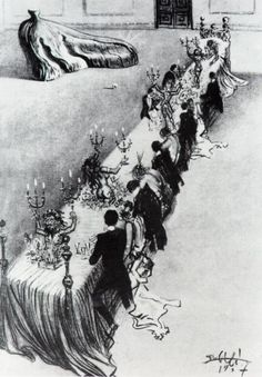 Salvador Dali: Surrealist Dinner on a Bed (drawing for a screenplay he had written for  the Marx Brothers, never filmed) 1937.