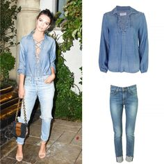 cocaranti | Steal Emily Ratajkowski's double denim look in our @frame denim lace up shirt and our @ragandbone 10 inch Dre Skinny Boyfriend Jeans with a turned up hem. Limited sizes online and instore! #cheshire #shoplocal #shoppingaddict #shopaholic #wishlist #celebritystyle #style #fashion #designer #love #lovewantneed #fashionblog #fashionblogger #blogger #boutique #ontrend #wiwt #styletips #styleadvice #instalove #stealmystyle #cocaranti #knutsford #autumn #skinnyboyfriendjeans…