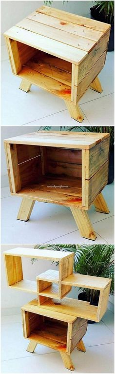 Ideas Wood Pallet Shelves Diy Side Tables For 2019 Pallet Shelves Diy, Craft Shelves, Pallet Bed Frames, Diy Pallet, Pallet Ideas, Wood Ideas, Pallet Side Table, Wood Pallet Tables, Pallet Furniture