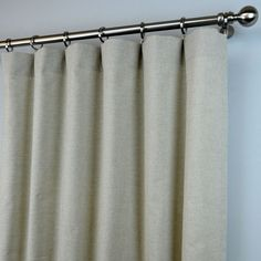 Pair of Rod Pocket Curtains in Taupe Beige Ivory Plain Linen