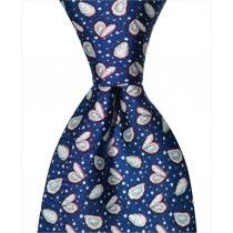 Oyster and Pearl Tie – Navy Custom necktie designed in New Orleans and handmade from 100% natural silk.