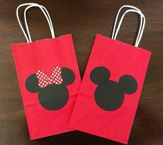 8 Mickey Mouse & Minnie Mouse Party Favor Bags por PlannerBoutique: