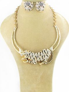 """Gold necklace with tiger design and matching post earrings. Lead Compliant. 16"""" $29.95 shipped! We accept PayPal!"""