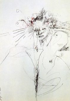 """""""patricialeesmith:  robert with lily, 1978, drawing by patti smith  """""""