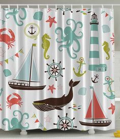 Shower curtains on pinterest anchor shower curtains shower curtains