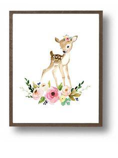 Baby deer cute fawn woodland nursery nursery prints deer
