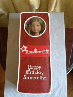 American Girl box - American Girl doll in her box - it's a cake!