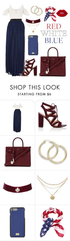 """Formal 4th of July"" by am-fandom ❤ liked on Polyvore featuring Rare London, Sam Edelman, Yves Saint Laurent, Charlotte Russe and Dolce&Gabbana"