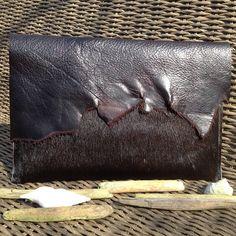 13 inch Bruin/Zwarte Leren Mac Book Laptop Hoes met Ruwe Rand