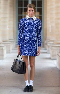 Paris Fashion Week Spring 2014 Valentino Dress. Prints in street style, love the detailed collar, and fitted sleeves