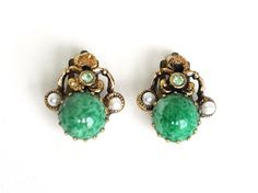Vintage GREEN Rhinestone Earrings Marbled Glass Cabachon Faux Pearls Peridot Stones Antiqued Gold Tone Clip Ons Unsigned Designer