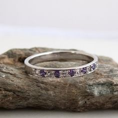 Beautifully made Simple Half eternity Band Featuring 6 Diamonds and 5 Alexandrite gemstones. Formed as a whole and perfectly round This handmade ring is