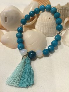 Turquoise Beaded Stretch Bracelet (AAA 8mm) with Opaline & Blue Agate Focals .925 Sterling Silver Beads and Tassels by DreamCuff