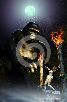 Kong approaching the sacrifice hotel, where the white woman is offered to him.