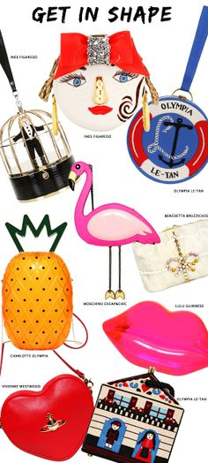 Fun comes in all shapes and sizes this spring! Spice things up with the most original new bags by Olympia Le-Tan, Charlotte Olympia, Ines Figaredo and more.
