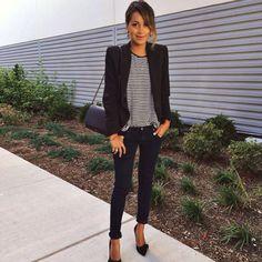 WEARING: AG jeans   DKNY striped top   RALPH LAUREN DENIM & SUPPLY pinstripe blazer   ISABEL MARANT bow pumps   LIONETTE earrings   ANINE BING shoulder bag