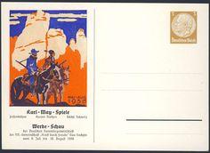 Germany, German Empire, Deutsches Reich 1938, 3 Pfg.-GA-Privatpostkarte, Karl-May-Festspiele, ungebraucht (Mi.-Nr.PP122 C88 01). Price Estimate (8/2016): 10 EUR. Unsold.