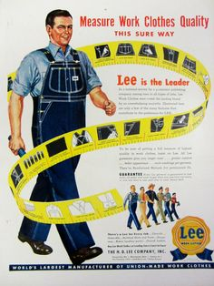 1948 Lee Men's Work Clothes Vintage Advertisement by RelicEclectic on Etsy Vintage Advertisements, Vintage Ads, Vintage Denim, Vintage Western Wear, Hard Working Man, Vintage Classics, Print Magazine, Magazine Ads, Lee Jeans