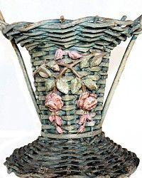 Original Shabby Aqua Pink Barbola Gesso Roses Flower Basket