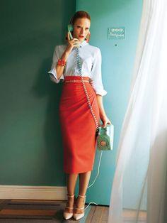 Schnittmuster: Bleistiftrock - seitliche Falten - Röcke - Damen - burda style