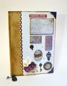 Este cuaderno o diario de notas estilo vintage elaborado con técnicas de scrapbooking es ideal para regalar o anotar cosas importantes. #scrapbooking #notas #cuaderno