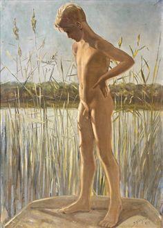 Bror Gustaf Hillgren - Swedish) Nude Boy at the Beach Wu Zetian, Trending Topics, Cherub, Figure Painting, Photo Art, Tumblr, Statue, Illustration, Artist
