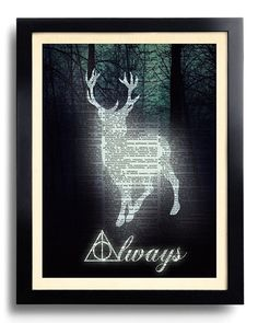 Harry Potter toujours citer Deathly Hallows Potter POSTER Deer Expecto Patronum imprimer sur Dictionnaire papier Kid Room Decor livre Page imprimer 538