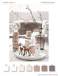 Christmas reindeer on a plate with candles Natural Christmas, Christmas Mood, Noel Christmas, Scandinavian Christmas, All Things Christmas, Christmas Crafts, Xmas, Christmas Lights, Decoration Christmas
