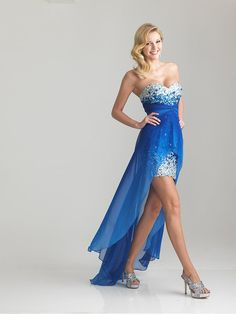 Royal Blue Sequin & Chiffon Strapless Hi-Lo Prom Dress