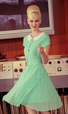 Retro style. Mint Polka Dot Dress. Peter Pan Collar. Adorable.