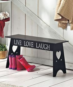live laugh love wooden bench $ 22 - Lakeside Collection