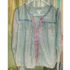 J Crew Embroidered Stripe Shirt Light shirt. J. Crew Tops