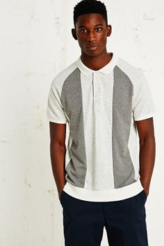 Supremebeing Fella Stripe Polo Tee in Ivory http://uoeur.pe/Mennewin #UrbanOutfittersEurope
