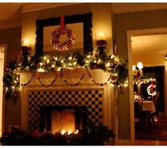 love the whole mantel and fireplace holiday decor