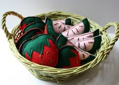 Strawberry and Watermelon Felt Catnip Cat Toys by smilingfrogpets Kitten Toys, Cat Toys, Watermelon Slices, Recycled Bottles, Handmade Toys, Cool Cats, Dog Cat, Strawberry, Felt