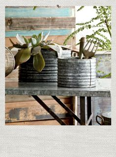 galvanized steel planters from ModernMountainDesign.com. A modern approach to mountain design.